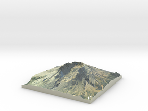 "Mount St. Helens Map: 9"" in Glossy Full Color Sandstone"