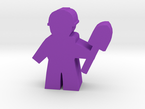 Game Piece, City Worker with shovel in Purple Processed Versatile Plastic