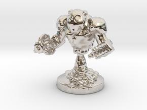 Mech Bot in Rhodium Plated Brass: Small