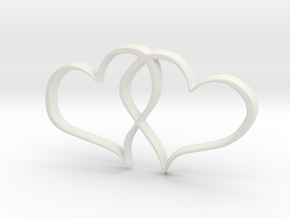 Double Hearts Interlocking Freehand Pendant Charm in White Natural Versatile Plastic