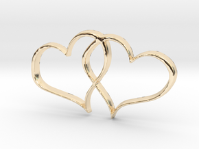 Double Hearts Interlocking Freehand Pendant Charm in 14k Gold Plated Brass