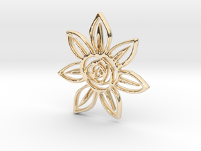 Abstract Rose Flower Pendant Charm in 14k Gold Plated Brass
