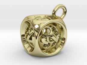Backgammon Doubling Cube Pendant in 18k Gold Plated Brass: Medium