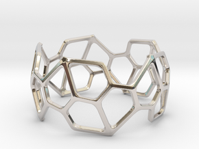 Bracelet Hex in Rhodium Plated Brass