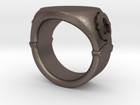 Seal Ring Trefoil - engraved in Polished Bronzed Silver Steel: 6.75 / 53.375