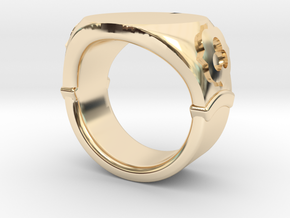 Seal Ring Trefoil - engraved in 14k Gold Plated Brass: 5.5 / 50.25