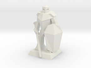 Knight Low-Poly in White Natural Versatile Plastic