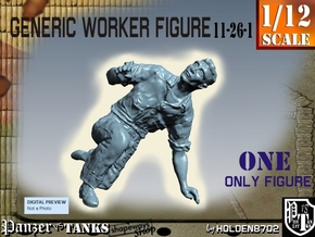 1-12 Generic Worker Figure 11-26-1 in White Natural Versatile Plastic