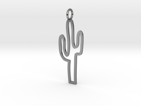 Large Cactus Charm! in Polished Silver