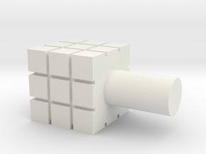 Rubik's Cube For Lego Characters in White Natural Versatile Plastic
