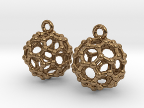 BuckyBall C60 Earrings 1 cm. 2 pieces. in Natural Brass