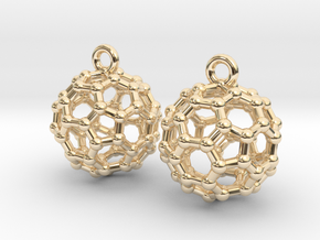 BuckyBall C60 Earrings 1 cm. 2 pieces. in 14K Yellow Gold