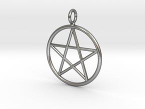 Simple pentagram necklace in Natural Silver