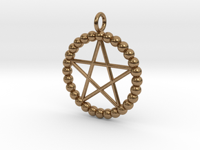 Beads pentagram necklace in Natural Brass