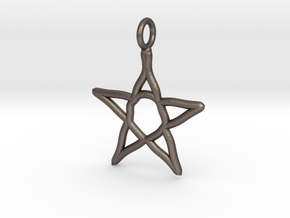 Warped star necklace in Polished Bronzed Silver Steel