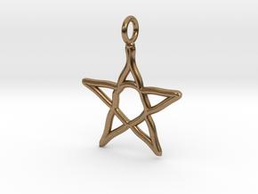 Warped star necklace in Natural Brass