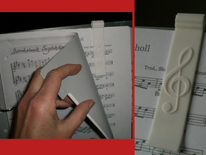 Sheet Music Bookmark with Treble Clef in White Processed Versatile Plastic