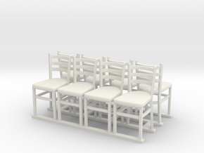 Wooden chairs  7. O Scale (1:48) in White Strong & Flexible