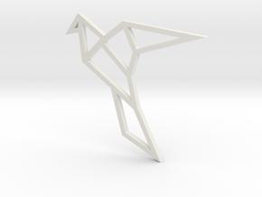 Geometric Bird Pendant in White Strong & Flexible
