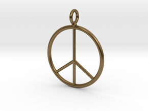 Peace symbol necklace in Natural Bronze