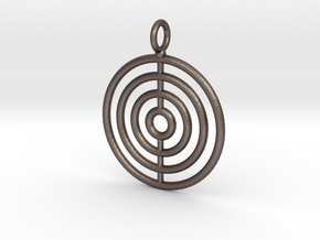 Circles on the water necklace in Polished Bronzed Silver Steel