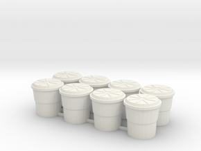 Highway Shock Absorbing Crash Barrel, Standard in White Natural Versatile Plastic: 1:76 - OO