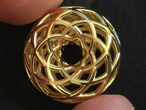 Sacred Geometric Vortex Pendant (6 loop) in 18k Gold Plated Brass
