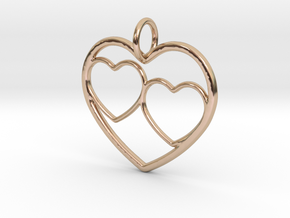 Heart Pendant for Mom with Twins in 14k Rose Gold