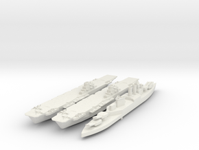 Set of 2 HMS Illustrious and HMS HOOD British navy in White Natural Versatile Plastic