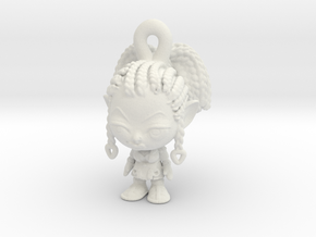 Telma Keychain Figure in White Natural Versatile Plastic