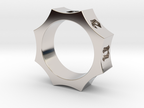Octagon Ensemble Ring in Rhodium Plated Brass: 8 / 56.75