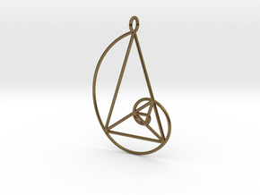 Golden Phi Spiral Isosceles Triangle Grid Pendant in Natural Bronze: Large