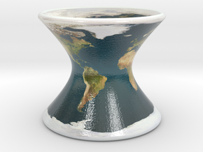 Earth on a Hyperboloid in Glossy Full Color Sandstone