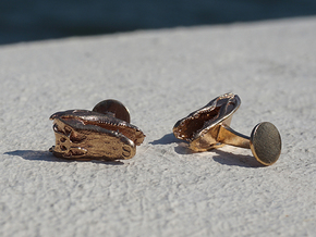 Alligator (Gator) Cufflinks in Natural Bronze