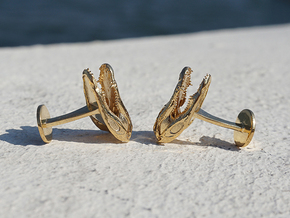 Alligator (Gator) Cufflinks in 14k Gold Plated Brass