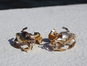 Blue Crab Cufflinks in Natural Bronze