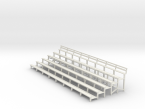 Bleachers 1-43 Scale With Back Rest in White Natural Versatile Plastic