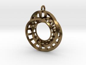Statement Interlocking Möbius Ladders Pendant in Interlocking Polished Bronze