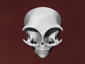 Grey Alien Skull in White Strong & Flexible