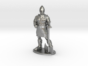 Dwarf Fighter Miniature in Natural Silver: 1:55