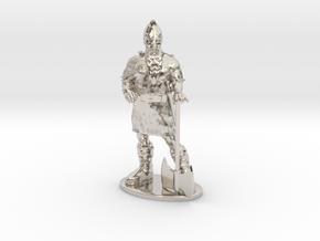 Dwarf Fighter Miniature in Platinum: 1:55