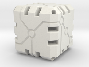 Vertex Dice 48mm Hollow in White Natural Versatile Plastic