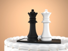 Chess Cake Topper (Queen and Queen) Black&White in Full Color Sandstone: Small