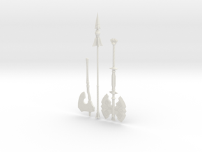 """BotW"" Basic Weapons Set in White Natural Versatile Plastic: 1:12"