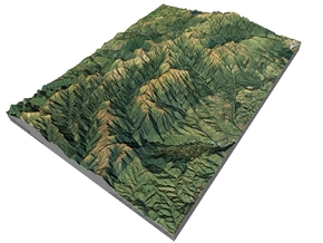 "Ruahine Range Map: 8.5""x11"" (100k) in Matte Full Color Sandstone"