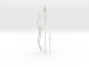 """BotW"" Zora Weapons Set in White Natural Versatile Plastic: 1:12"