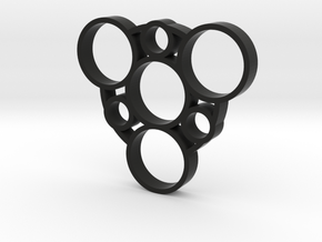 Fidget Spinner 3 in Black Natural Versatile Plastic