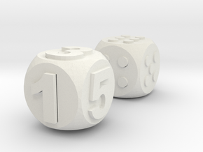 Assistive Dice - Luna in White Natural Versatile Plastic: Medium