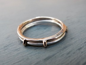 Double ring moebius bi metal   8 3/4 in Raw Bronze