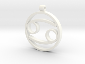 Cancer Zodiac Sign Pendant in White Processed Versatile Plastic